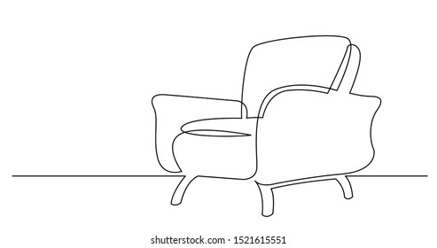 continuous line drawing of spacious modern armchair