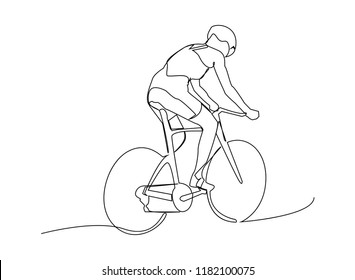 continuous line drawing of sport Cycling triathlon Vector illustration health concept