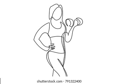 Continuous line drawing. Sport woman with dumbbells on white background. Vector illustration