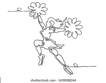 Continuous line drawing of Sports, Cheerleader, Dancing girl, Logo, Icon, Exercise, Symbol, Silhouette, Vector illustration, Background.