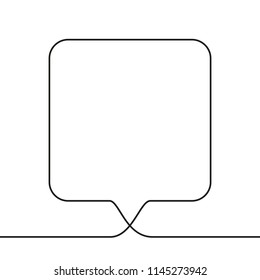 Continuous line drawing of square speech bubble, Black and white vector minimalistic linear illustration made of one line
