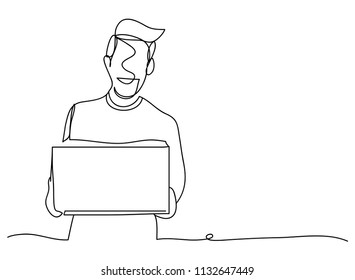 continuous line drawing of a staff delivery vector illustrations.