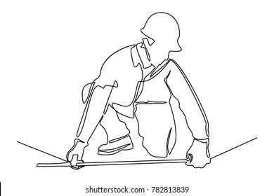 Continuous line drawing. Standing builder man makes measuring by ruler. Vector illustration on white background