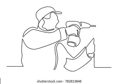 Continuous line drawing. Standing builder man drills a hole in the wall. Vector illustration on white background