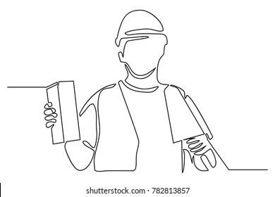 Continuous line drawing. Standing builder man level the brick wall. Vector illustration on white background