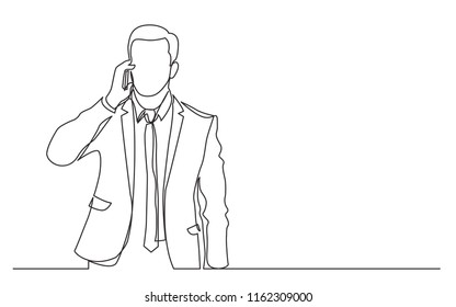 continuous line drawing of standing businessman speaking on his phone