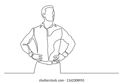continuous line drawing of standing confident man