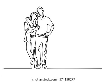 continuous line drawing of standing couple