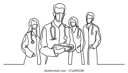 continuous line drawing of standing healthcare professionals team in protective masks