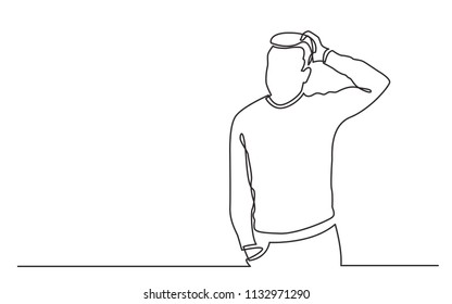 continuous line drawing of standing man in difficult situation