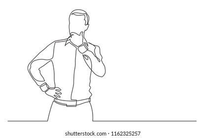 continuous line drawing of standing man concerning
