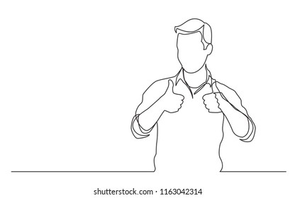 continuous line drawing of standing man showing thumb up gesture
