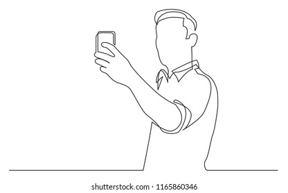 continuous line drawing of standing man making selfie with his mobile phone