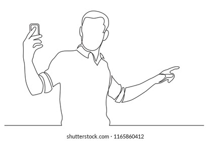 continuous line drawing of standing man shooting video on his mobile phone
