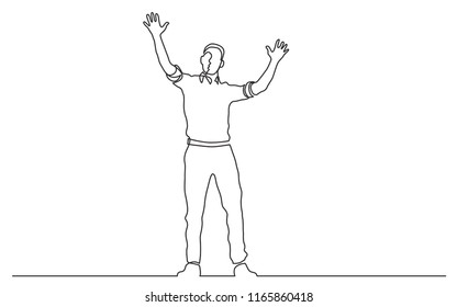 continuous line drawing of standing man waving hands