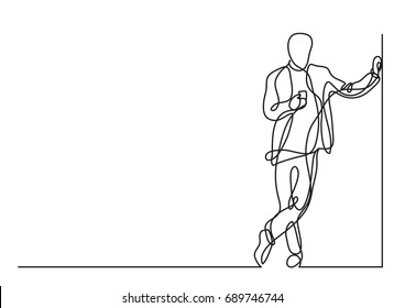 continuous line drawing of standing man with cell phone