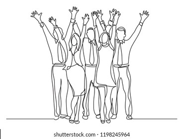 continuous line drawing of standing office team cheering waving hands