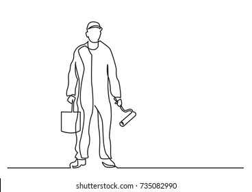 continuous line drawing of - standing painter