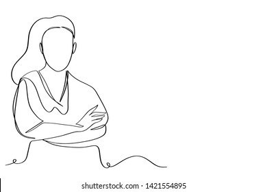 continuous line drawing of standing team of professionals vector illustration business concept.