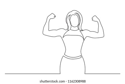continuous line drawing of standing woman showing strong muscles