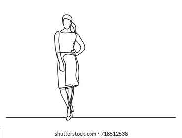 continuous line drawing of standing woman