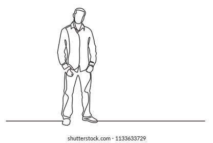 continuous line drawing of standing young guy in shirt and jeans