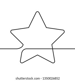 Continuous line drawing of star, Black and white minimalistic linear illustration made of one line