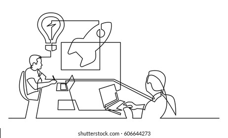continuous line drawing of startup brainstorming session