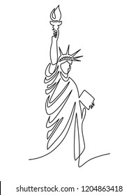 continuous line drawing of the Statue of Liberty, New York, USA, vector illustration.
