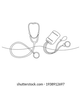 continuous line drawing of stethoscope