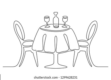 Continuous line drawing. Table with chairs. Bottle and two wine glasses. Black isolated on white background. Hand drawn  vector illustration.