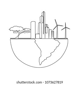 Continuous line drawing of a tall building electric turbine tree in the world vector illustration