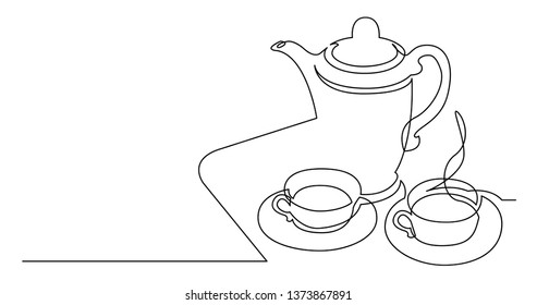 continuous line drawing of tea pot and tea cups on tray