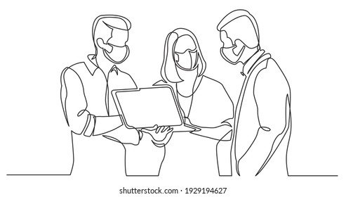continuous line drawing of team discussing work watching laptop computer wearing face masks