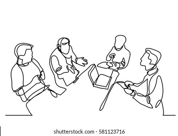 continuous line drawing of team discussion