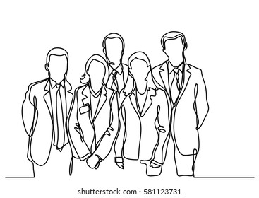 continuous line drawing of team of employees