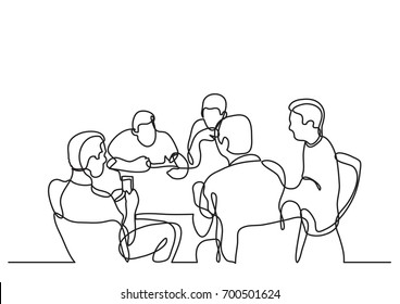 continuous line drawing of team meeting