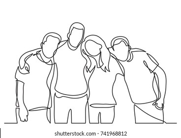 continuous line drawing of team members standing together