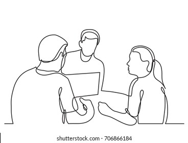 continuous line drawing of three coworkers discussing