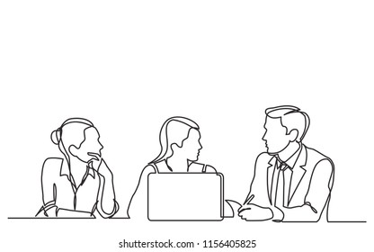 continuous line drawing of three employees talking about work