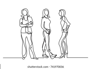 continuous line drawing of three standing women