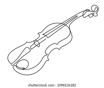 continuous line drawing of three-quarter violin vector. Musical instrument single line for decoration, design, invitation jazz festival, music shop.
