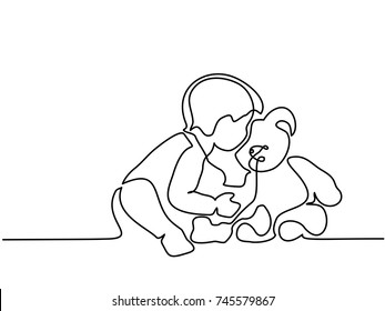 Continuous line drawing. Toddler boy reading book with her newborn baby brother. Vector illustration