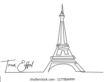 Continuous line drawing of tourist attractions Eiffel tower vector illustration