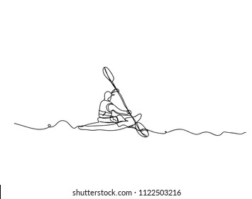 Continuous line drawing of tourists is a canoe summer travel vector illustration