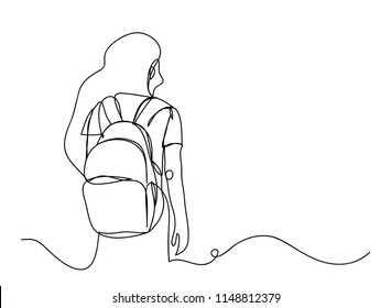 Continuous line drawing of tourists Travel Backpack Prepare tour departure Vector illustrations