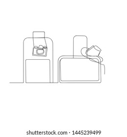 continuous line drawing of travel suitcase hat and photo camera. isolated sketch drawing of travel suitcase hat and photo camera line concept. outline thin stroke vector illustration