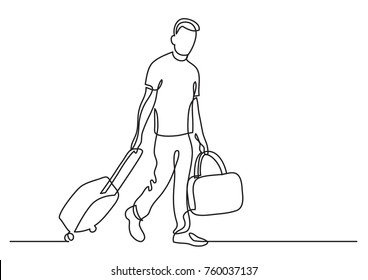 continuous line drawing of traveler walking rolling bag on wheels