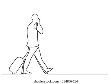 continuous line drawing of travelling businessman walking with rolling luggage