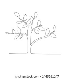 continuous line drawing of tree. isolated sketch drawing of tree line concept. outline thin stroke vector illustration